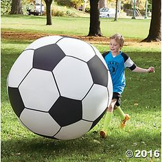 Giant Inflatable Soccer Ball: Get ready for some bouncing, rolling, kicking, chasing fun! This amazing giant soccer ball is four feet in diameter and is made from thick, puncture-resistant vinyl. A reinforced double valve system eliminates air loss for hours of entertainment and exercise. #MindWareToys #AllOutFun
