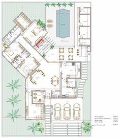 Projeto de casa térrea de 3 quartos com 198,64m²