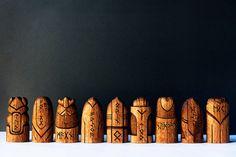 Scandinavian Gods Set. Perfect gift Unique wooden statues: