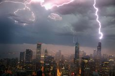 PHOTO: Lightning struck the Willis Tower in Chicago, Wednesday. The massive storm system surged Thursday toward the mid-Atlantic after causing widespread power outages through the Upper Midwest.