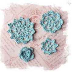 Flores de Crochê - Oficina de Memórias - cor Vede Turqueza