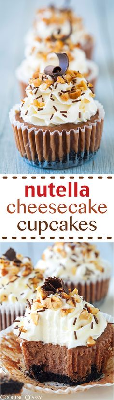 Nutella and cheesecake lovers, here is a dessert you absolutely must try. I find myself in both categories, being both a huge lover of Nutella and cheeseca Nutella Cheesecake, Cheesecake Cupcakes, Yummy Cupcakes, Cheesecake Recipes, Cupcake Recipes, Cupcake Cakes, Dessert Recipes, Coconut Cupcakes, Mini Cupcakes