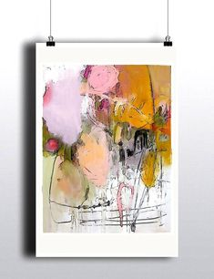Pretty Abstract Original Art Painting Pink Yellow Peach Large Soft West Coast Beach Peaceful Vancouver Canadian Artist  Amaryllis   This print is a part of my abstract collection, exploring themes of joy, balance and contentedness.  It is 24 x 36 inches in size.  This is an original