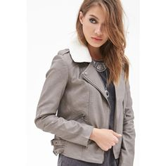 Forever 21 Women's  Faux Shearling Bomber Jacket ($19) ❤ liked on Polyvore featuring outerwear, jackets, cocoa, white jacket, buckle jackets, flight jacket, sherpa fleece jacket and faux shearling jacket