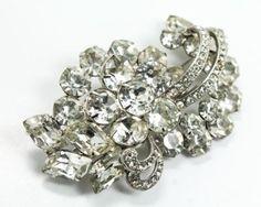 Vintage 1940-50s Designer Weiss Flower Motif Rhinestone Brooch Pin in Jewelry & Watches, Vintage & Antique Jewelry, Costume, Retro, Vintage 1930s-1980s, Pins, Brooches   eBay