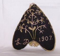 Victorian Heart Shaped Mourning Pin Cushion Hand Sewn Hand Work Family Tree 1907