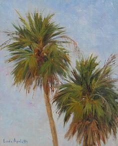 Two Thatch Palms by Linda Apriletti Palms, Palm Trees, Exotic, Flowers, Art, Palm Plants, Art Background, Kunst, Gcse Art