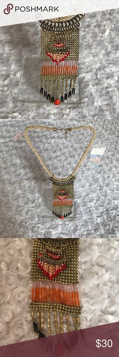 """🆕FESTIVAL MULTI COLOR MIXED MATERIAL NECKLACE Rope with a lobster clasp closure. 6"""" Length. 2"""" Width. 14"""" Total length. 3"""" extender. Three tier necklace. Antique gold color. Beads are red, blush, Black, coral and gold. If you're looking to add a festival touch to your wardrobe without going big -this one's for you. -No trades. Price is set unless bundled. Like this item? FOLLOW ME. I add new items daily/weekly. Thank you. 51Twenty Jewelry Necklaces"""