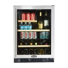 Luxury Dual-Zone Beverage and 14-Bottle Wine Refrigerator Door: Black, Hinge: Right 24 Dual Zone Beverage/Wine Refrigerator with 14-Wine Bottle Capacity, 133-Can Capacity, 2 Wine Rack, 3 Shelves, MicroSentry Controls and Right Hinge Door Opening: Black Frame Glass Door (NOT STAINLESS STEEL BEZEL, BLACK BEZEL). Dimensions Width : 23 7/8 Depth : 26 3/8 Height : 34 Bottle Capacity : 14 Can Capaci... #Marvel #Major_Appliances