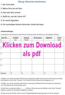 lehrerfreund: Arbeitsblatt 'Übung zur Bestimmung von Wortarten aus einem Text' (Übung 1), Klick öffnet Arbeitsblatt als PDF