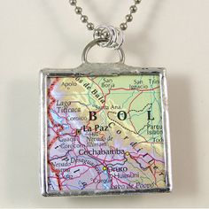 La Paz Map Pendant Necklace by XOHandworks $20 Bolivia, Pendant Necklace, Map, Trending Outfits, Unique Jewelry, Handmade Gifts, Stuff To Buy, Etsy, Vintage