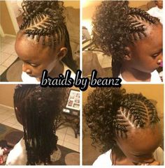 Fish bone braids with kankalon, braided, dipped in hot water and unbraided