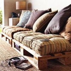 Couch from pallets. Rustic deck furniture?! This is so happening on my deck this summer!
