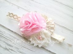 Pink Ivory & Gold Fabric Flower Headband by Noelle Grace Designs. $14.50 . Click to purchase now. Use code PIN10 to get 10% off your purchase of $11 or more. Exp 3/31/15.