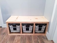 Every house needs a place for coats and shoes, and a mudroom needs a bench! This DIY mudroom bench is sure to fit in most spaces and wasn't too tricky! Small Entry Bench, Entryway Bench Storage, Diy Bench With Storage, Bench Mudroom, Diy Bench Seat, Entryway Ideas, Small Bench Seat, Entry Bench Diy, Cubby Bench