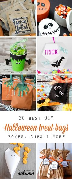 20 best DIY Halloween treat bag, boxes, cups, and more. Perfect favors for class parties, neighborhood kids. Diy Halloween Gifts, Dulceros Halloween, Halloween Infantil, Bonbon Halloween, Halloween Treats For Kids, Halloween Party Favors, Halloween Birthday, Vintage Halloween, Halloween