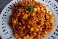 Dušené zelí s uzeným masem a cizrnou Chana Masala, Tofu, Quinoa, Risotto, Macaroni And Cheese, Good Food, Low Carb, Chicken, Meat