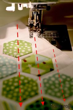 Modern Hexies - Two ideas for machine stitching them. These are fun ideas that I'd like to try.  I kind of like the space that you get between them with this technique. The hexies in this example have been machine stitched in place - from point to point in rows across the piece.