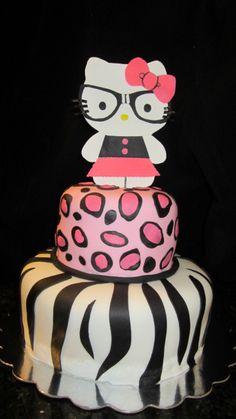 Hello Kitty Cheetah & Zebra print cake