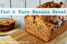 Great as a side or for breakfast this Fast and Easy Banana Bread Recipe will be a hit! We like to add in chocolate chips for a bit of extra sweetness.  Sometime I snack on it as dessert :)