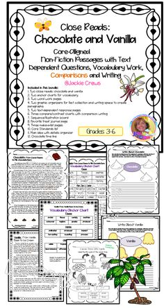 This packet has two non-fiction close reads with activities;a great way to incorporate compare/contrast of two selections as well as cross-curricular subject matter. Each paragraph is numbered. These are core-aligned with text dependent questions, vocabulary work, comparisons, and writing.  It can be used as small group intervention, whole group work, independent work, or buddy work.The product also lends itself to writing opinions about preferences of chocolate vs vanilla.