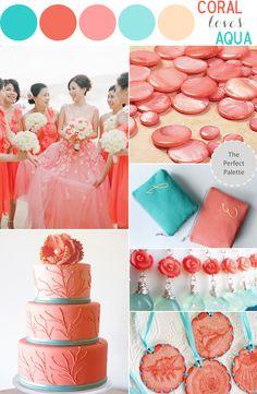 Coral and Aqua Wedding Colors Coral Wedding Colors, Aqua Wedding, Wedding Color Schemes, Dream Wedding, Coral Color Schemes, Wedding Cake, Wedding Themes, Wedding Decorations, Wedding Ideas