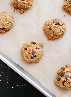 Healthy gluten-free, honey-sweetened, oat-based cookies made with peanut butter, banana and chocolate chips! Everyone loves these sweet little treats.
