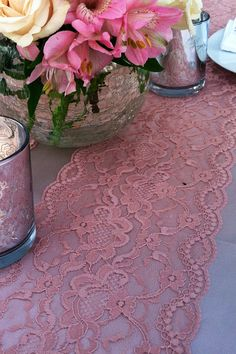 DUSTY ROSE Lace/Table Runner/WEDDINGS / by LovelyLaceDesigns pink Lace, Blush pink Lace, Vintage Lace, wedding lace, wedding supplies, table cloth, black and pink wedding, DIY, table runner, weddings, engagement, burlap, vintage, wedding designs, lace, lovely lace designs, floral lace, shabby chic wedding, shabby chic designs