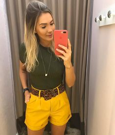 Cute Summer Outfits, Short Outfits, Spring Outfits, Trendy Outfits, Cute Outfits, Fashion Outfits, Womens Fashion, Olive Shirt, Look Con Short