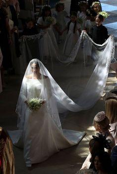 Meghan Markle walks down the aisle in St George's Chapel, Windsor Castle, in Windsor,