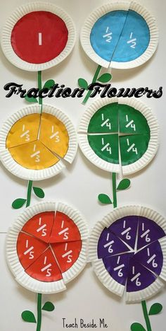 Learn fractions in a creative way by making these fraction flowers out of paper plates- includes a set of printable fraction circles. This makes learning math fun! craft for babies Printable Fraction Flowers Math For Kids, Fun Math, Math Math, Math Games, Kindergarten Math, Guided Math, Kids Fun, Math Stem, Preschool Classroom