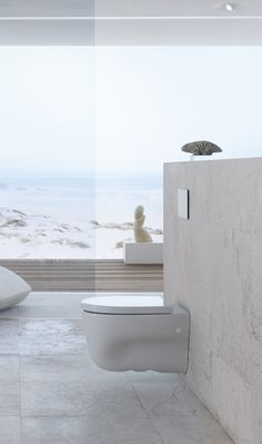Beachy clean bathroom design, highlighted by this awesome wall mounted toilet system Washroom Design, Bathroom Interior Design, Interior Exterior, Exterior Design, Wall Mounted Toilet, Sauna, Bathroom Cleaning, Beautiful Bathrooms, Bathroom Renovations