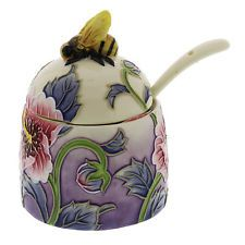 Old Tupton Ware Hibiscus Pattern Hand Painted Tube Lined Honey Pot
