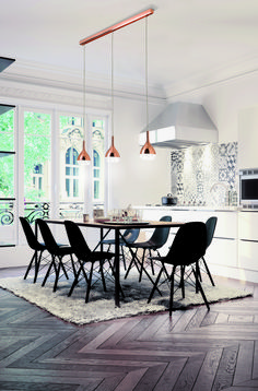 Mantra Khalifa pendant lights series comes in silver and copper Mantra, Dining Chairs, Dining Table, Suspension Design, Fancy Houses, Living Room Tv, Decoration, Architecture, Sweet Home