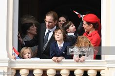 Princess Caroline of Hanover Andrea Casiraghi Tatiana Santo Domingo Raphael Casiraghi and Charlotte Casiraghi greet the crowd from the palace's...