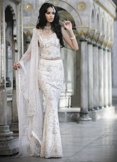 beautiful white silk bridal lengha