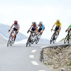 Chris Froome, Alberto Contador, Romain Bardet, Warren Barguil & Rigoberto Uran descend the Col du Galibier during stage 17 of the Tour de France @swpix_cycling