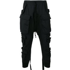 Unravel Project cargo pocket drop-crotch trousers ($466) ❤ liked on Polyvore featuring men's fashion, men's clothing, men's pants, men's casual pants, black and mens drop crotch pants