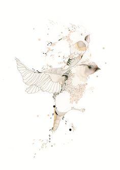 Watercolour painting birds by Trine Struwe