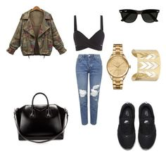 """Untitled #365"" by anita-smiley on Polyvore featuring NIKE, Ray-Ban, Topshop, Givenchy and Lacoste"