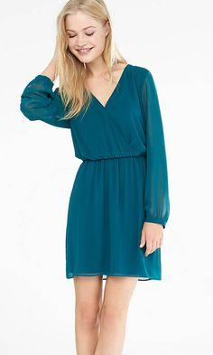 Green Long Sleeve Surplice Dress from EXPRESS