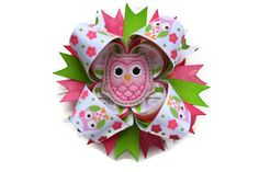 Owl Hair Bow 4 inch stacked hairbow in pink by TheSweetBCollection, $8.99