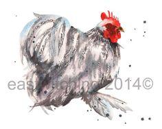Watercolour Chicken, Chicke paintings, kitchen art, 8x10 print, uk artists £15.00 #chicken #8x10 #print #readytoframe #watercolour #cockerel #lavender #pekin #bantam #poultry #fowl #art