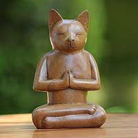"""Cat in Deep Meditation"", by Balinese artist Nengah Sudarsana. (novica.com)"