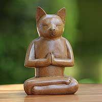 """""""Cat in Deep Meditation"""", by Balinese artist Nengah Sudarsana. (novica.com)"""