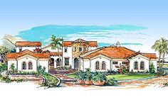 Mediterranean Villa with Two Courtyards - 16315MD | Mediterranean, Southwest, Spanish, Tuscan, Luxury, 1st Floor Master Suite, Butler Walk-in Pantry, CAD Available, Courtyard, In-Law Suite, MBR Sitting Area, Media-Game-Home Theater, PDF, Split Bedrooms, Wrap Around Porch, Corner Lot | Architectural Designs