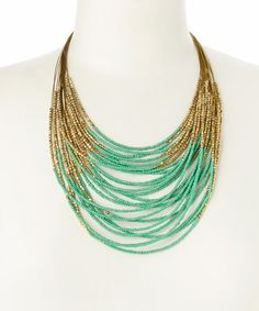 Another great find on #zulily! Gold & Mint Beaded Bib Necklace #zulilyfinds