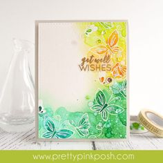 Hello friends!! Amy here. Today, I want to share a watercolor card using the Blissful Butterflies Stamp Set. For my card, I used my favorite technique – white heat embossing and loose watercoloring…