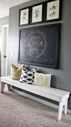Love the giant chalkboard....would use other pictures on top