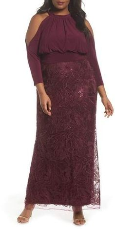 d9f7bbf1619 Adrianna Papell Stretch Jersey   Sequin Lace Gown (Plus Size)